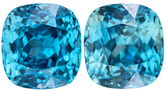 Rare Blue Zircon Pair in Cushion Cut, Special Vivid Rich Blue Color in 10.3 x 9.7 mm, 15.57 Carats