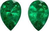 Rich Green Emerald Well Matched Pair in Pear Cut, Vivid Rich Green, 6 x 4 mm, 0.8 carats