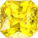 Rich Yellow Sapphire Loose Ceylon Gem in Radiant Cut, 6.3 mm, 2 Carats