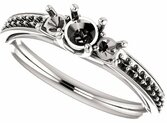 Round 3-Stone Engagement Mounting for 4.10 mm - 10.00 mm Center Gem, 2 Round Sidegems - Customize Metal, Accents or Gem Type