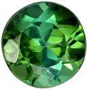 Round Cut Blue Green Tourmaline Loose Gem, Rich Green Teal, 5.8 mm, 0.88 carats