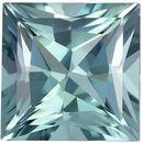 Seafoam Blue Tourmaline 6.3 mm, 1.28 carats Light & Bright Princess Cut Gem