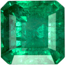 Sharp Columbian Loose Emerald Gem stone in Square Cut, Rich Green Color in 5.9 mm, 1.15 carats