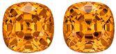 Sought After Well Matched Pair of Magnificent Spessartite Garnet Natural Gems, Cushion Cut, 3.88 carats