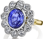 Special Handmade 6.67ct Cornflower Blue Sapphire Ring With 18 Round Diamonds, 1.57 carats - 2 Tone 18kt White & Yellow Gold
