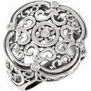 Appealing Jewelry in Sterling Silver 0.10 Carat Total Weight Diamond Filigree Ring