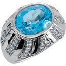 Sterling Silver Oval Swiss Blue Topaz & Aquamarine Ring