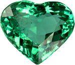 Striking Loose Emerald Natural Brazilian Gemstone in Heart Cut, 7.6 x 6.6 mm, 1.14 Carats