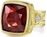 Super Bold Hand Made 11 carat Orangey Red Almandite Garnet With Diamond Accents in 18kt Heavy Yellow Gold - SOLD