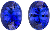 Super Bright Blue Sapphires Matched in Oval Cut, Vivid Rich Blue Color, 7 x 5 mm, 2.04 carats