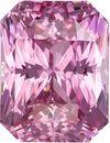 Super Bright Pink Radiant Cut Sapphire Gem in Medium Tone, 8.8 x 6.7 mm, 3.53 carats