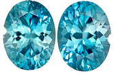Super Fine Blue Zircons Well Matched Pair in Oval Cut, Diamond Like Cutting in  9 x 7 mm, 5.56 carats