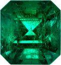 Super Intense Emerald Genuine Gem from Columbia in Emerald Cut, 7.4 x 7 mm, 1.78 Carats