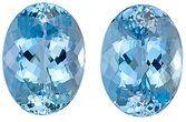Top Color GEM Blue, Very Well Cut Pair of Aquamarine Gemstones, Oval Cut, 11.66 Carats