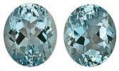 Top Color - Gorgeous Pair of Blue Aquamarine Natural Gemstones, Oval Cut, 9.68 carats,