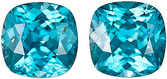 Unique Matched Paired Blue Zircon Gemstones, Finest Quality Natural Stones, Antique-Square cut, 12.69 carats