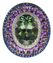 Unusual Prasiolite-Green Amethyst Gemstone Ring set with Amethyst & Blue Sapphires - SOLD