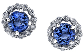 Very Beautiful 1.70 carat total weight Rich Color Tanzanite Stud Earrings With Diamond Halo in 18kt White Gold