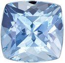Very Bright Aquamarine Gemstone in Cushion Cut, Rich Pure Blue, 6.1 mm, 0.99 carats