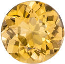 Very Pretty Topaz Gemstone in Round Cut, Medium Peachy Gold, 5.9 mm, 0.8 carats