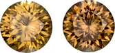 Warm Honey Brown Ceylon Zircons in Well Matched Pair in Round Cut, 8 mm, 5.21 Carats