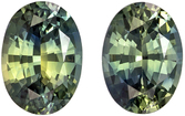 Attractive Oval Cut Green Sapphire Well Matched Pair, Lime Tinged Green, 5.6 x 4 mm, 1.06 carats
