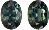 Very Pretty Well Matched Pair of Green Sapphire in Oval Cut, Teal Blue Green, 6.8 x 5 mm, 1.89 carats