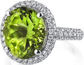 Magnificent Handmade 6.88ct Oval Peridot Ring in 18kt White Gold With 1.14ctw Pave Diamonds - SOLD