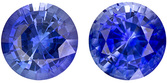 Lively & Bright Sapphire Well Matched Pair in Round Cut, Medium Rich Blue, 5.4 mm, 1.57 Carats