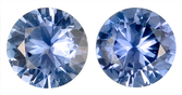 Impressive Pair of Unheated Blue Sapphire Natural Gemstones for SALE, Round Cut, 2.49 carats