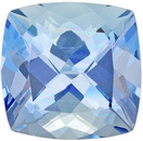 Rare Color in Aquamarine Stone in Cushion Cut, Vivid Pure Blue, 8 x 7.8 mm, 1.86 carats