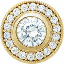 14 Karat Yellow Gold 6.5mm Round Forever One Moissanite & 1/3 Carat Total Weight Diamond Pendant