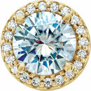 14 Karat Yellow Gold 6.5mm Round Forever One Moissanite & .08 Carat Total Weight Diamond Pendant