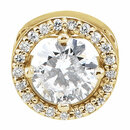 14 Karat Yellow Gold 5mm Round Forever One Moissanite & .05 Carat Total Weight Diamond Pendant
