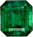 Classic Zambian Emerald Gemstone in Emerald Cut, Rich Deep Green Color, 9.3 x 8.3 mm, 3.48 carats