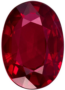 Fine Gem GIA Certified Genuine Loose Ruby Gemstone in Oval Cut, 7.92 x 5.62 x 3.51 mm, Vivid Rich Red, 1.49 carats