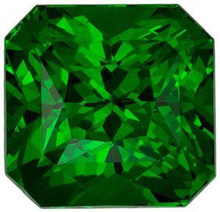 Eye Catching Genuine Loose Tsavorite Gemstone in Radiant Cut, 6.2 x 6 mm, Grass Green, 1.54 carats