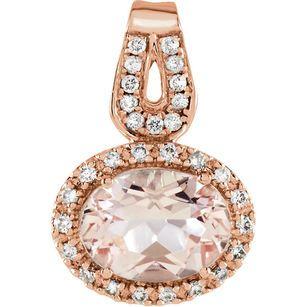 14 Karat Rose Gold Morganite & 0.12 Carat Diamond Pendant