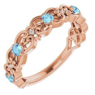 Genuine Aquamarine Ring in 14 Karat Rose Gold Aquamarine & .02 Carat Diamond Vintage-Inspired Scroll Ring