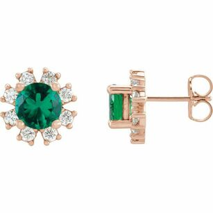Created Emerald Earrings in 14 Karat Rose Gold Chatham Created Emerald & 1/2 Carat Diamond Earrings