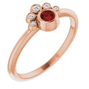 Red Garnet Ring in 14 Karat Rose Gold Mozambique Garnet & .04 Carat Diamond Ring