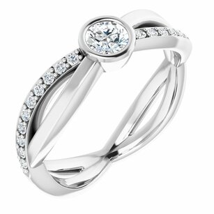 White Diamond Ring in 14 Karat White Gold 4.1 mm Round 3/8 Carat Diamond Infinity-Inspired Ring