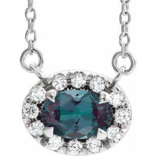 Chatham Created Alexandrite Necklace in 14 Karat White Gold 7x5 mm Oval Chatham Lab-Created Alexandrite & 1/6 Carat Diamond 18