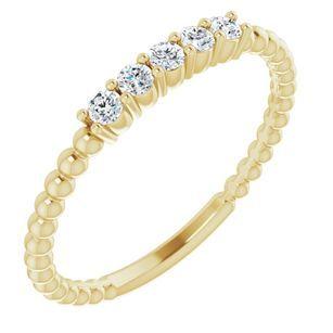 White Lab-Grown Diamond Ring in 14 Karat Yellow Gold 1/6 Carat Lab-Grown Diamond Stackable Ring