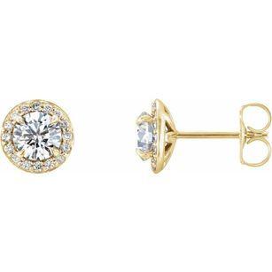 Created Moissanite Earrings in 14 Karat Yellow Gold 5 mm Round Forever One Moissanite & 1/8 Carat Diamond Earrings
