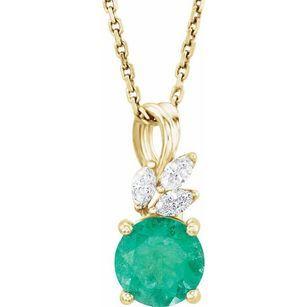 Chatham Created Emerald Necklace in 14 Karat Yellow Gold Chatham Created Emerald & 1/10 Carat Diamond 16-18