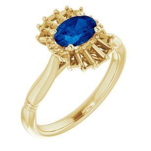 Genuine Chatham Created Sapphire Ring in 14 Karat Yellow Gold Chatham Lab-Created Genuine Sapphire & 1/4 Carat Diamond Ring