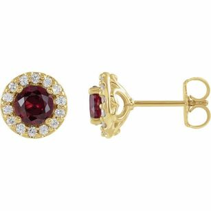 Created Ruby Earrings in 14 Karat Yellow Gold Chatham Lab-Created Ruby & 1/4 Diamond Earrings