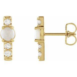 14 Karat Yellow Gold Ethiopian Opal & .2 Carat Weight Diamond Bar Earrings