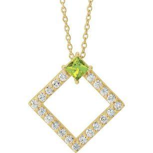 Genuine Peridot Necklace in 14 Karat Yellow Gold Peridot & 3/8 Carat Diamond 16-18